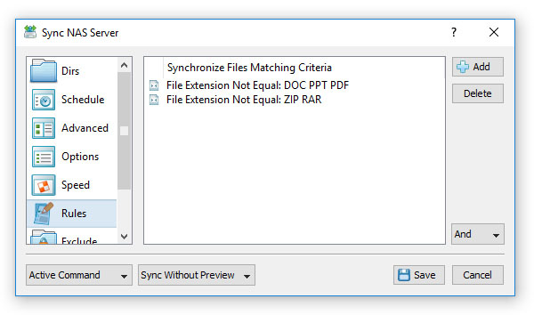 Exclude Files From Synchronization By File Extension