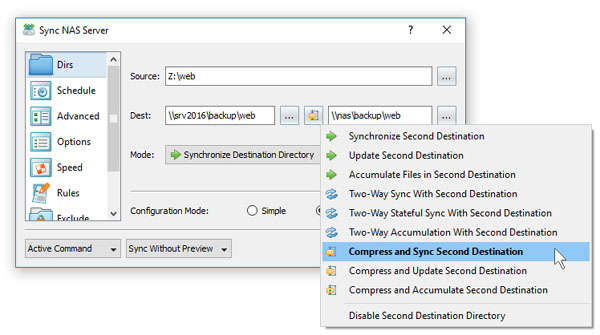 File Synchronization With Tertiary Destination Directory