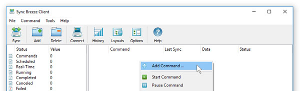 SyncBreeze Server Add File Synchronization Command