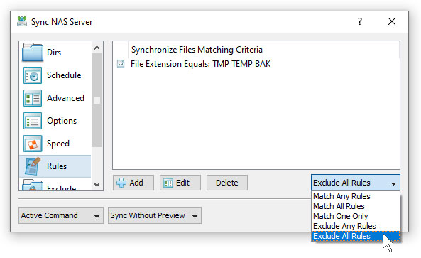 SyncBreeze File Synchronization Rules Exclude Extensions