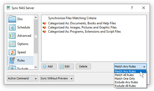 SyncBreeze File Synchronization Rules File Types